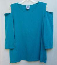 DG2 Diane Gilman Womens XL Cotton/Spandex Blue Open-Shoulder Tee Blouse NWOT