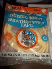"NOS FROST KING 3/8"" PLASTIC FOAM WEATHERSTRIP TAPE 3/8x1/4x17' LONG SELF STICK"