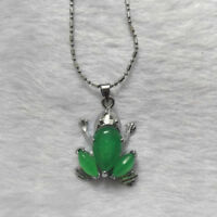 Inland Green Gift Silver Tibet Pendant Jade Necklace Frog