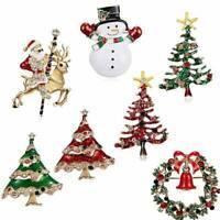 Lovely Crystal Snowman Stockings Santa Christmas Tree Brooch Pin Women Jewelry