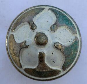 True Vintage Drawer Knob GK CAN gold brass shabby white enamel paint Canada 1673