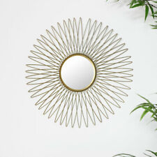 Gold metal sunburst wall mirror luxe living home decor living room accessory