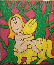 """Alain TREZ (1926) huile sur panneau """"La Belle et la Bête"""" 2002"""
