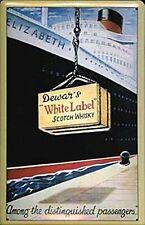 Dewars White Label Whiskey / QE1 geprägtes Blechschild (hi 3020)