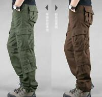 Mens outdoor multi-pocket overalls mens trousers loose fit zipper cotton pants