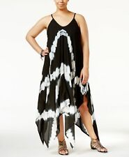NEW Raviya Plus Size Black Tie Dye Handkerchief Hem Swimsuit Cover Up Dress 1X