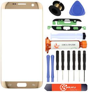 Frontglas für Samsung Galaxy S7 Edge G935F Gold Display Scheibe +UV Kleber Set