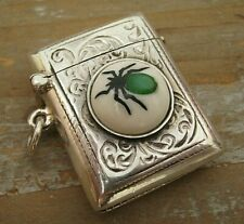 Hallmarked Sterling Silver Vesta Case With Shibayama Decorated MOP Insect Button