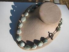 Green Banded Beads Gemstones Toggle Necklace Vtg. 925 Etruscan Design Light Blue