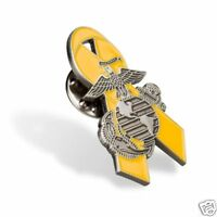 USMC MARINE CORPS EGA  YELLOW RIBBON SUPPORT TROOPS PIN