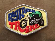 Vintage Patch Righteous Trike Custom Harley Chopper Motorcycle Biker 70s NOS