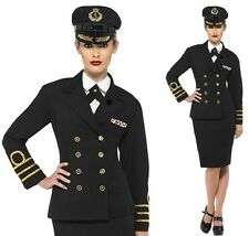 Ladies Navy Naval Officer Fancy Dress Costume Black Military Outfit by Smiffys.