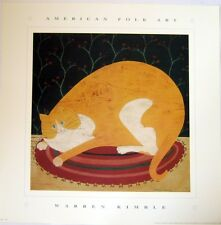 art print~CLIFF~Warren Kimble~Orange and White Cat Primitive Folk 14x14 cats