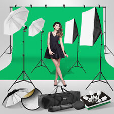 Photography Video Photo Studio Lighting Kit Backdrop Soft Box Umbrella Stand Set