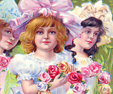 Decoration/Memorial Day~GIRLS IN BOWS  w/ WREATHS of ROSES~Antique NASH Postcard