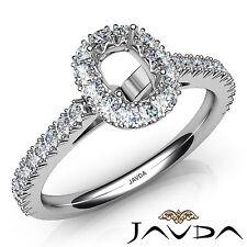 Halo French Prong 1Ct Diamond Engagement Cushion Semi Mount 18k White Gold Ring