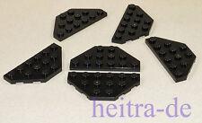 LEGO - 6 x Keilplatte Trapezplatte Flügel 3x6 schwarz / Wedge Plate 2419 NEUWARE