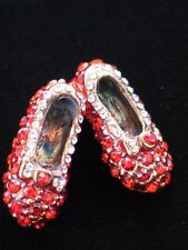 """WIZARD OF OZ DOROTHY WAND RUBY RED SHOES SHOE SLIPPERS SLIPPER PIN BROOCH 1.25"""""""