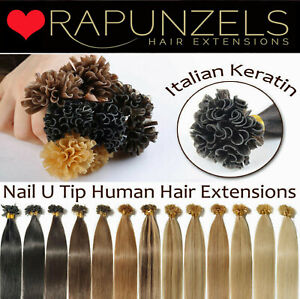 1G Keratin pre bonded hair extensions U nail tipped fusion remy human- Rapunzels