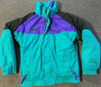 Vtg 90s Columbia Radial Sleeve Jacket Youth XL Purple Lining Snow Ski Polo Sport