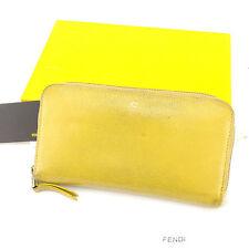 Fendi Wallet Purse zipper wallet Beige Woman unisex Authentic Used Y7213
