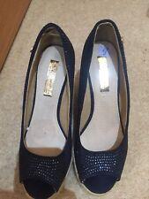 ladies wedge heel sandals Peep Toe size 6 Diamanté Navy Blue Xti Brand