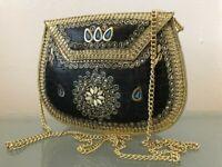 Indian Metal Ladies Clutch bag Boho Handmade Bridal Evening Stone UK SELLER