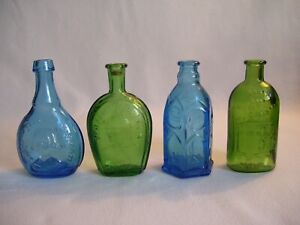 """Lot of 4 Vintage Miniature 3"""" Wheaton NJ Glass Bottles Blue and Green Colors"""