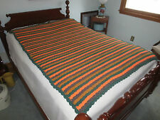 """Hand Crafted GREEN, GRAY, GOLD, ORANGE Bulky Wool STRIPED AFGHAN  - 50"""" x 68"""""""