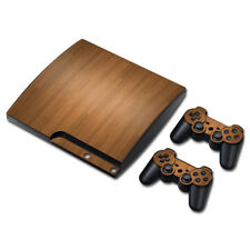 For SONY PLAYSTATION PS3 SLIM Vinyl  Decal STICKER Wood Grain SKIN & 2 PAD SKIN