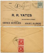 USA POSTAGE DUE 1936 from FIJI on PRINTED ENVELOPE YATES 2d FRANKING 4c DUE