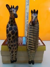 2-Genuine African Safari Animals Giraffe & Zebra Wood Handcarved Shelf Sitters