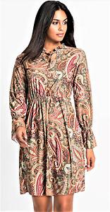 Ladies Fit & Flare Long Sleeved Dress Elasticated Waist Paisley Print Size  UK L