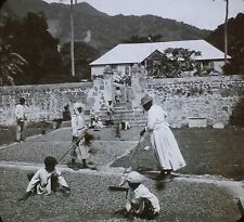 Drying Cocoa in Sun, Dominica, British W.I., Magic Lantern Glass Photo Slide