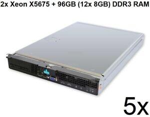 5x Intel Compute Module MFS5520VI With 2x Xeon X5675 +96GB (12x 8GB) DDR3 RAM