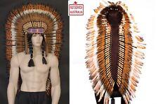 New-125cm-Native-Indian-Chief-Black-Orange-Feather-Headdress-Fancy-Dress-Costume