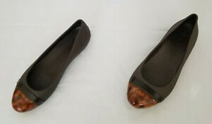 Womens Size W/9 Brown Crocs Cap Toe Flats Slip On Rubber Shoes 15507 preowned