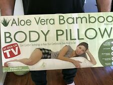 Hypoallergenic Aloe Vera Bamboo STAYS COOL Full Body Pillow Neck Pains, Migraine
