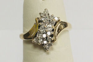 Estate Jewelry 14Kt Yellow Gold .33ct Natural Diamond Cluster Ring Sz5