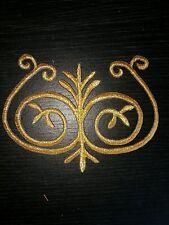 Oro metallizzato ricamo patch pizzo Applique Motif Costume Da Ballo DECOR