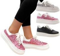 Ladies Womens Flats Glitter Lace Up Pumps Trainers Flatforms Sneakers Shoes Size