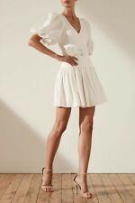 SHONA JOY PUFF SLEEVE MINI GAIA DROP WAIST DRESS WHITE SIZE 8 BNWT RRP$380