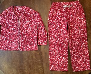 CROFT & BARROW INTIMATES (PM) Pajama Set Button Up RED WHITE Faux Fur Polyester
