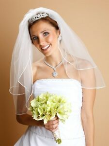 FROM MARIELL - ELEGANT 2-LAYER SHEER BRIDAL VEIL w SATIN CORDED EDGE - ON COMB