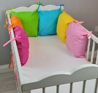 PILLOW BUMPER made from 6 cushions for cot/cot bed multi colour PINK AQUA GREEN