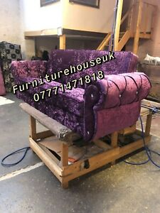 Three Seater Bed Settee Sofa In Purple Crushed Velvet With Storage