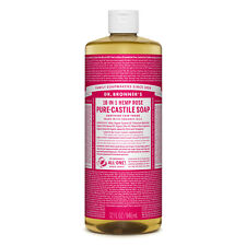 Dr Bronner's Rose Pure-Castile Liquid Soap -946ml Organic Detergent