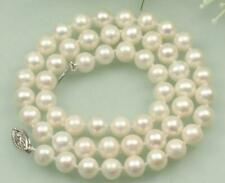 """18"""" Stunning AAA 8-9mm real natural Akoya white pearl necklace earring set 14k"""
