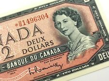 1954 Canada 2 Dollar Circulated BB Replacement Beattie Rasminsky Banknote R166
