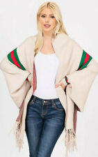 New Stripe Accent Sleeve Cape Shawl with Fringe